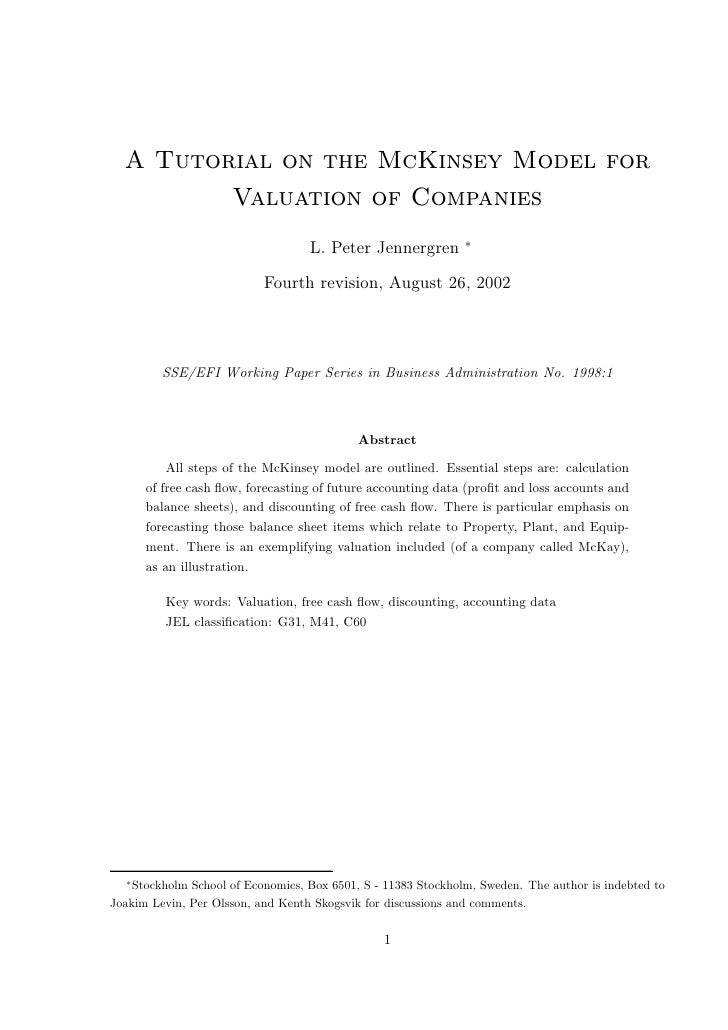 A Tutorial on the McKinsey Model for          Valuation of Companies                                                      ...