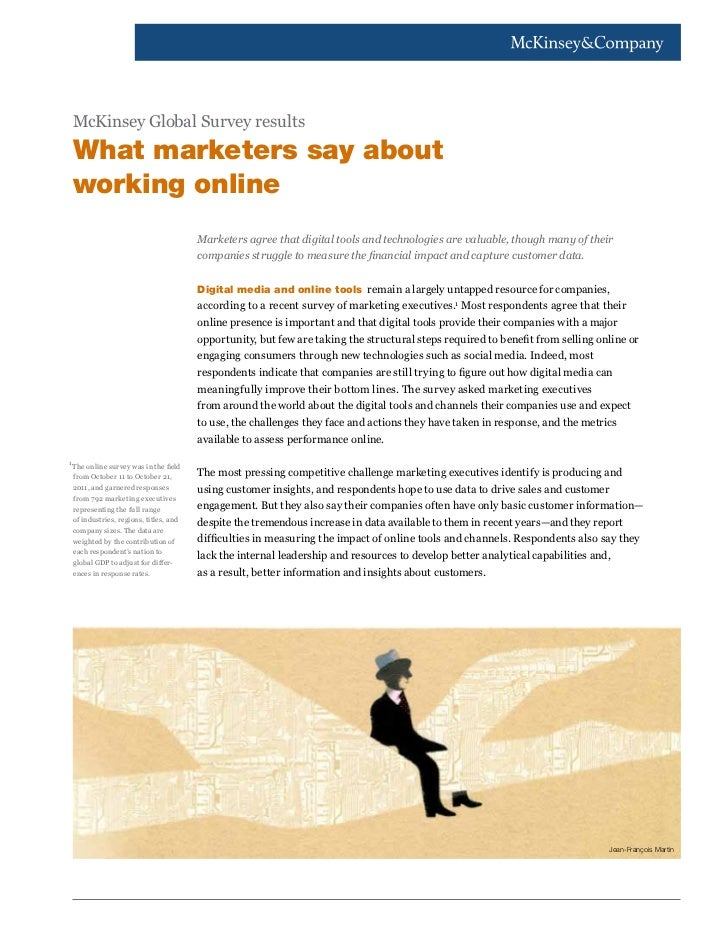 McKinsey Global Survey results    What marketers say about    working online                                          Mark...