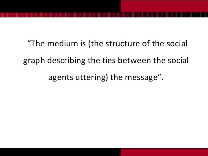 """<ul><li>"""" The medium is (the structure of the social graph describing the ties between the social agents uttering) the mes..."""