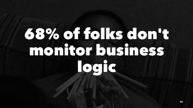 68% of folks don't monitor business logic 14