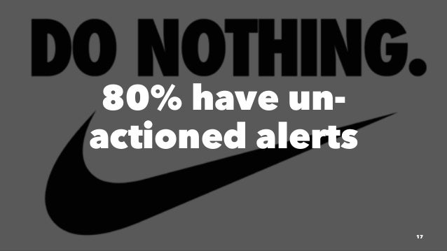 80% have un- actioned alerts 17