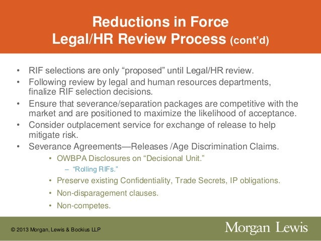 Legal issues in reduction of workforce