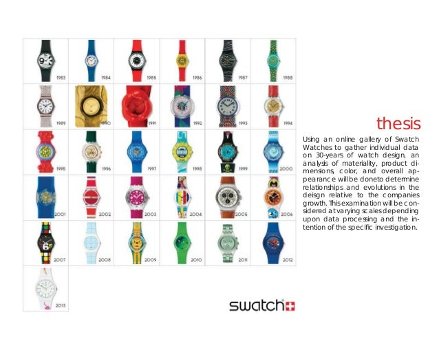 thesisUsing an online gallery of SwatchWatches to gather individual dataon 30-years of watch design, ananalysis of materia...