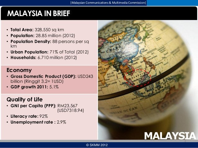  Malaysian Communications & Multimedia Commission   MALAYSIA IN BRIEF • Total Area: 328,550 sq km • Population: 28.85 mill...