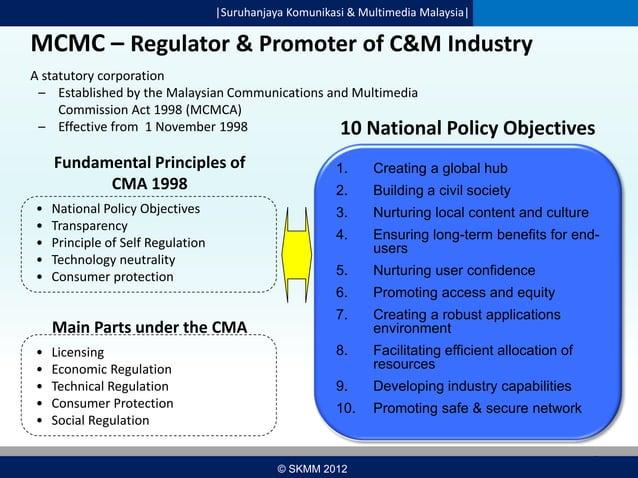  Suruhanjaya Komunikasi & Multimedia Malaysia   MCMC – Regulator & Promoter of C&M Industry A statutory corporation – Esta...