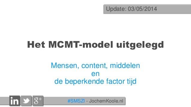 #SMSZI - JochemKoole.nl Het MCMT-model uitgelegd Mensen, content, middelen en de beperkende factor tijd Update: 03/05/2014