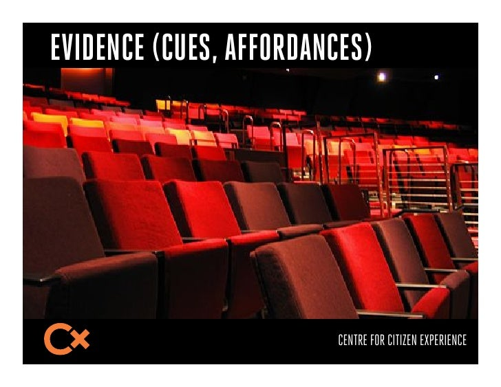 EVIDENCE (CUES, AFFORDANCES)                        CENTRE FOR CITIZEN EXPERIENCE