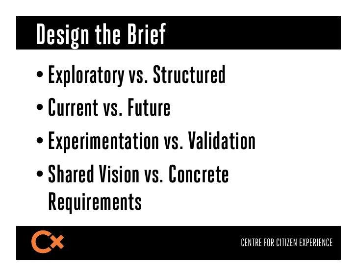 Design the Brief•Exploratory vs. Structured•Current vs. Future•Experimentation vs. Validation•Shared Vision vs. Concre...