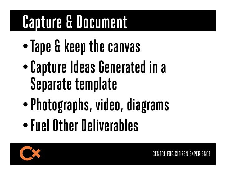 Capture & Document•Tape & keep the canvas•Capture Ideas Generated in a  Separate template•Photographs, video, diagrams•...