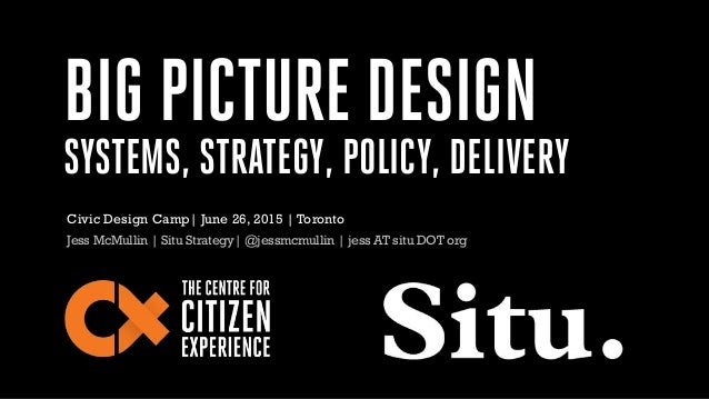 BIG PICTURE DESIGN SYSTEMS, STRATEGY, POLICY, DELIVERY Jess McMullin | Situ Strategy| @jessmcmullin | jess AT situ DOT org...