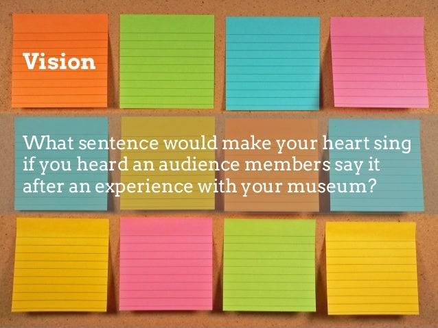 Bringing it all together Pick one of each: Audience  Asset  Vision