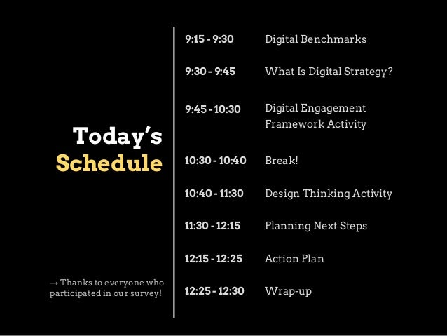 9:15 - 9:30 9:30 - 9:45  What Is Digital Strategy?  9:45 - 10:30  Today's Schedule  Digital Benchmarks  Digital Engagement...