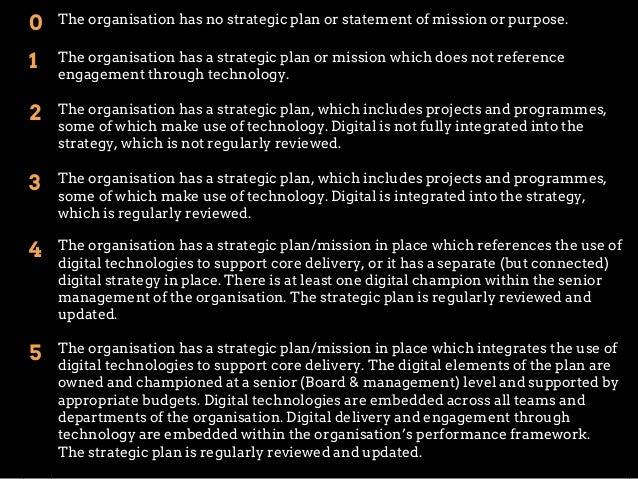0  The organisation has no strategic plan or statement of mission or purpose.  1  The organisation has a strategic plan or...