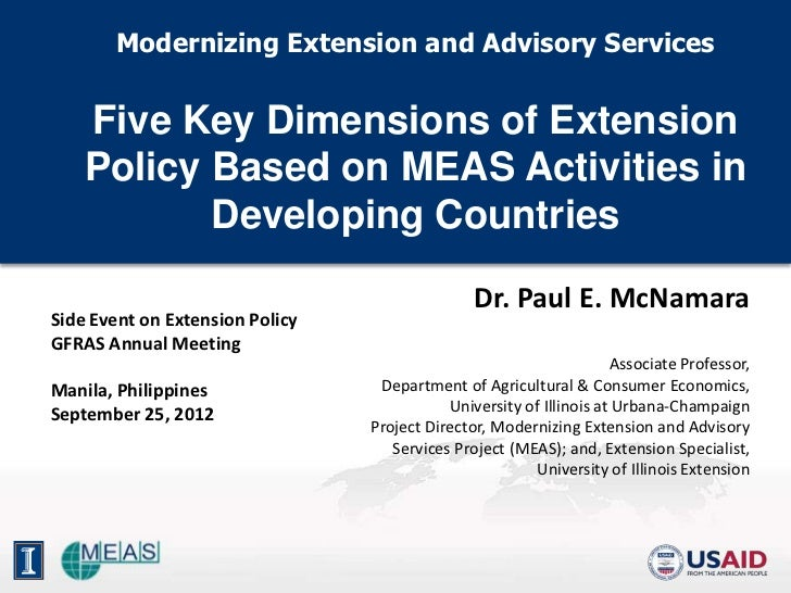 Modernizing Extension and Advisory Services    Five Key Dimensions of Extension    Policy Based on MEAS Activities in     ...