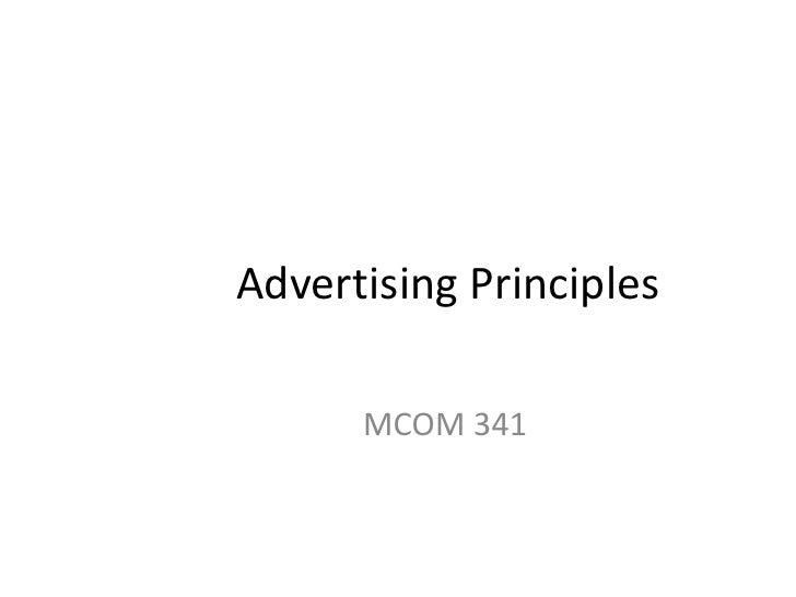 Advertising Principles<br />MCOM 341<br />