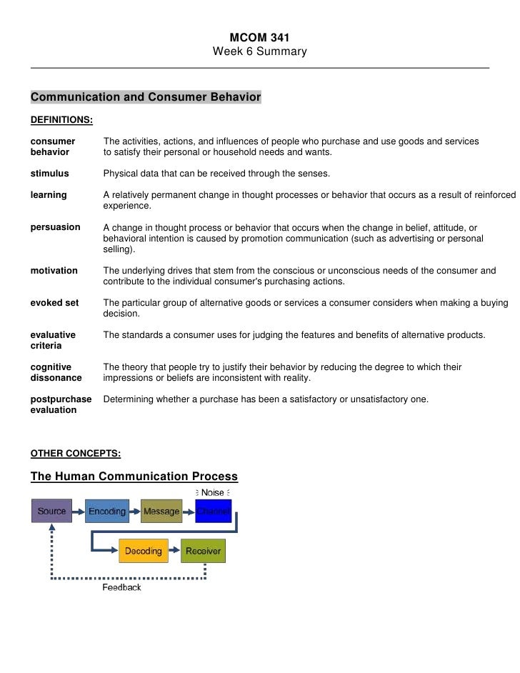 MCOM 341<br />Week 6 Summary<br />Communication and Consumer Behavior<br />DEFINITIONS:<br />consumer behavior  The activi...