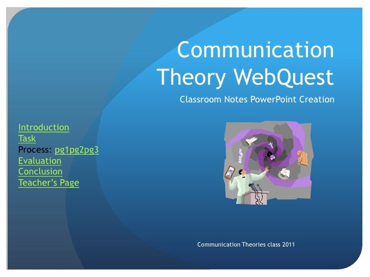 Communication                     Theory WebQuest                      Classroom Notes PowerPoint CreationIntroductionTask...