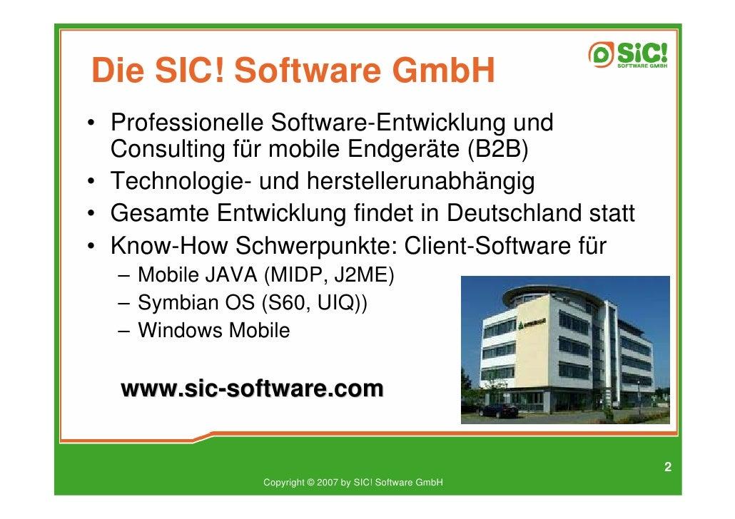 Die SIC! Software GmbH • Professionelle Software-Entwicklung und   Consulting für mobile Endgeräte (B2B) • Technologie- un...