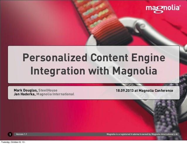 Magnolia is a registered trademark owned by Magnolia International Ltd.Version 1.1 Jan Haderka, Magnolia International Mar...