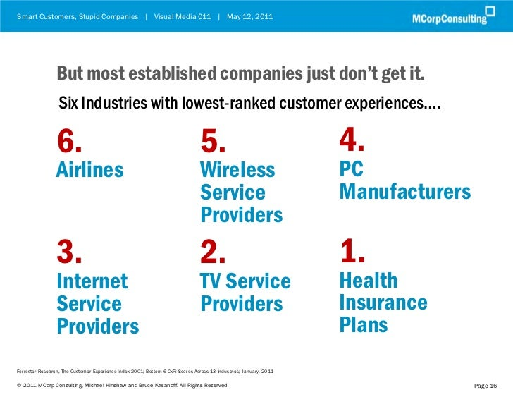 Smart Customers, Stupid Companies | Visual Media 011 | May 12, 2011                 But most established companies just do...