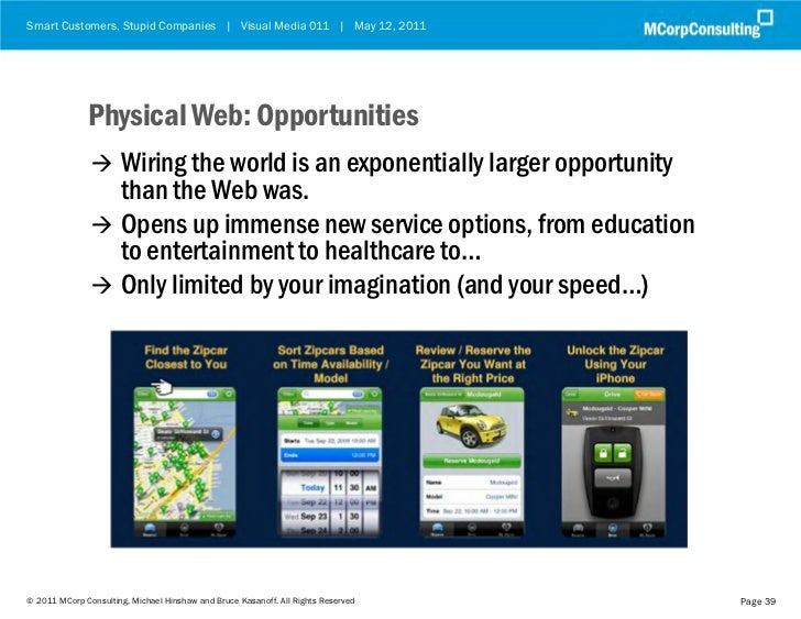 Smart Customers, Stupid Companies   Visual Media 011   May 12, 2011              Physical Web: Opportunities              ...