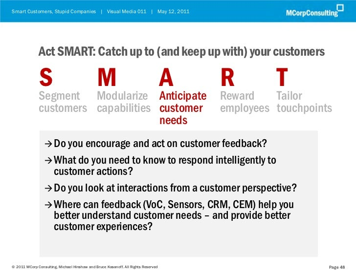 Smart Customers, Stupid Companies | Visual Media 011 | May 12, 2011              Act SMART: Catch up to (and keep up with)...