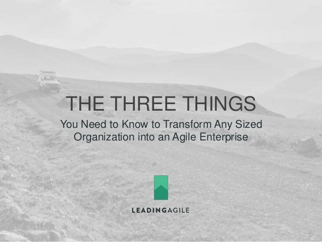 THE THREE THINGS You Need to Know to Transform Any Sized Organization into an Agile Enterprise