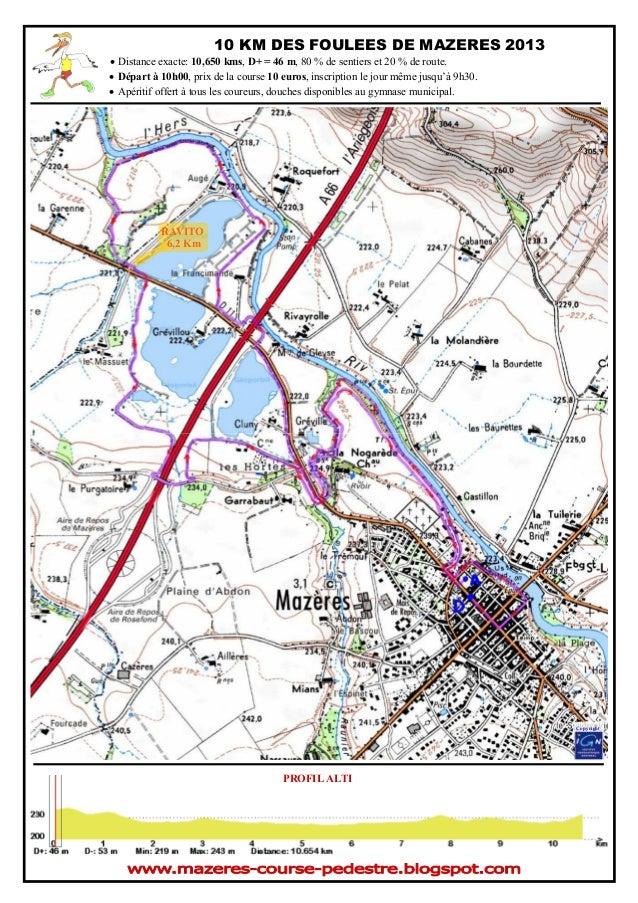 10 KM DES FOULEES DE MAZERES 2013 • Distance exacte: 10,650 kms, D+ = 46 m, 80 % de sentiers et 20 % de route. • Départ à ...