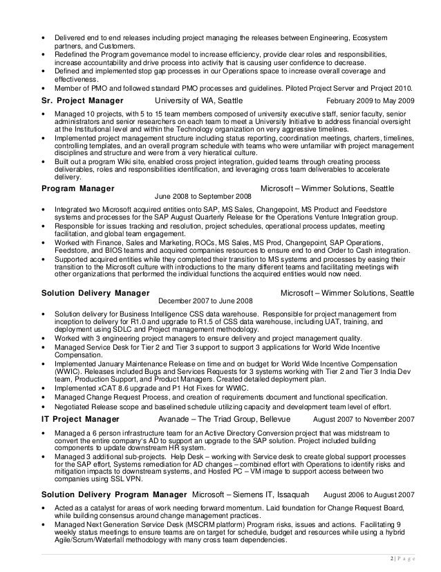 best resume for project manager