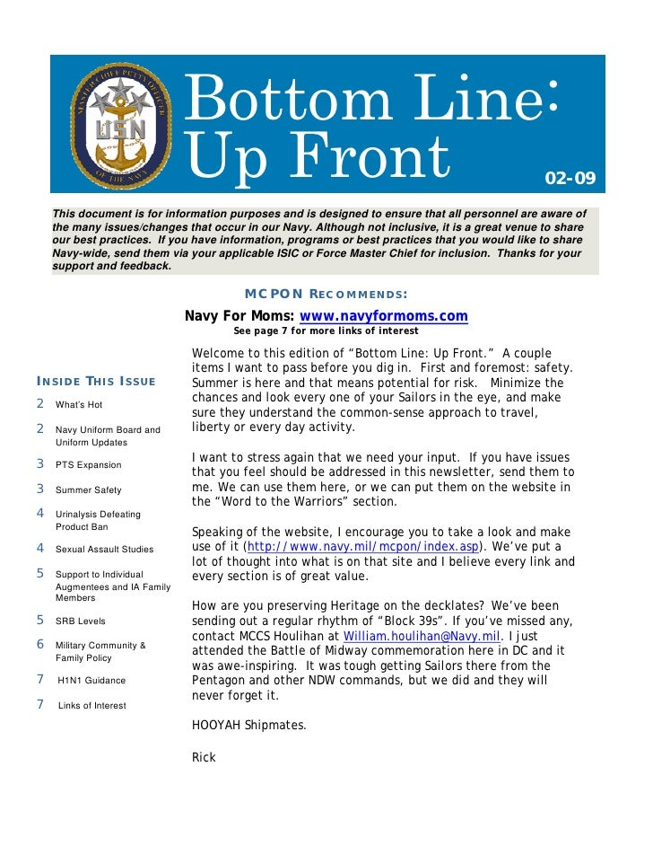 Bottom Line:                                Up Front                                                         02-09     Thi...
