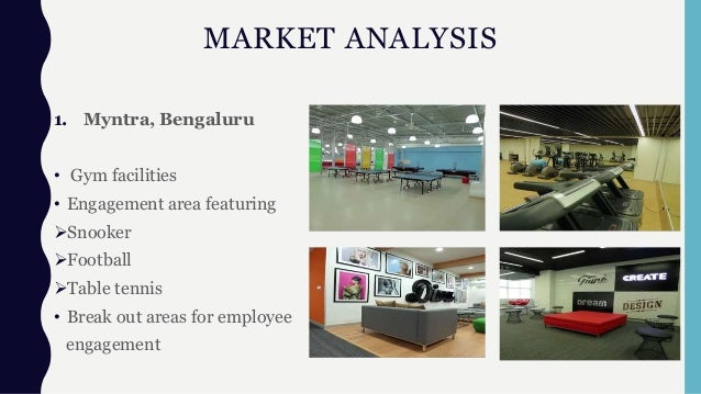 MARKET ANALYSIS 1. Myntra, Bengaluru • Gym facilities • Engagement area featuring Snooker Football Table tennis • Break...