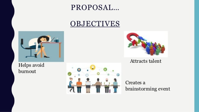 PROPOSAL… OBJECTIVES Helps avoid burnout Attracts talent Creates a brainstorming event