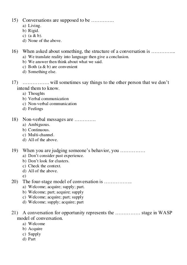 Mcq questions for communication skills course