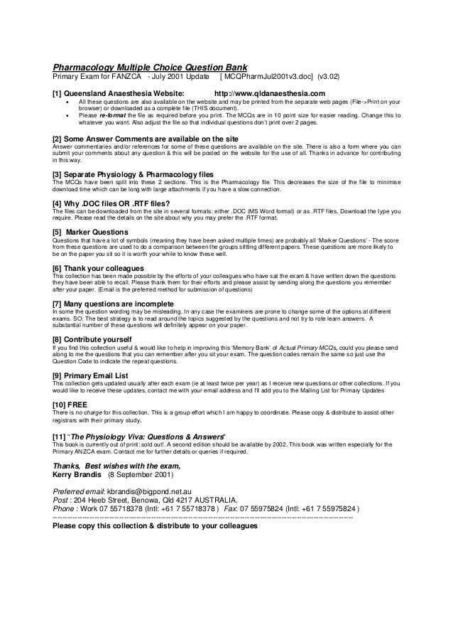 Mcq pharmacology - july 2001 v3 (answers)