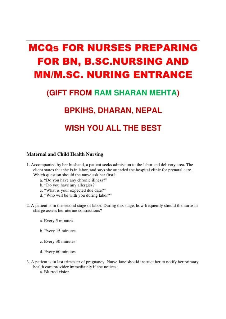 MCQs for Entrance Test for BN, MN, MSN Nursing by RS MEHTA