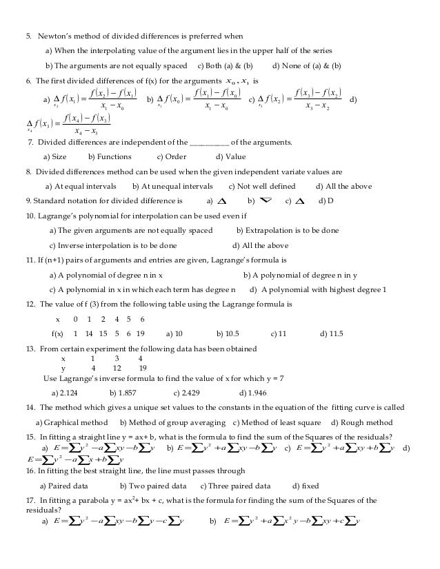 NUMERICAL METHODS MULTIPLE CHOICE QUESTIONS