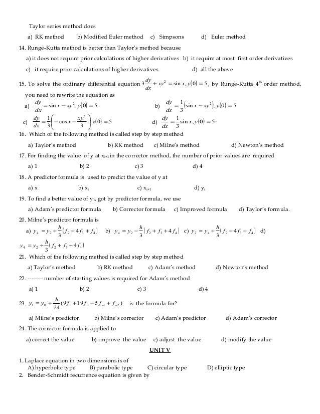 Numerical Methods Question Bank Pdf