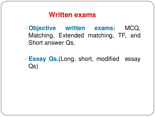 essay test item analysis There are two general categories of test items: (1) objective items which require students to select the correct response from several alternatives or to supply a word or short phrase to answer a question or complete a statement and (2) subjective or essay items which permit the student to organize and present an original answer.