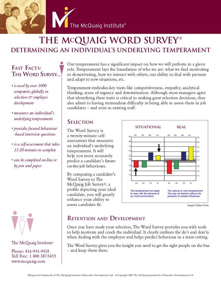 Mc Quaig Word Survey Overview