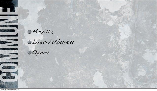 commune Mozilla Linux/Ubuntu Opera Monday, 23 September 13
