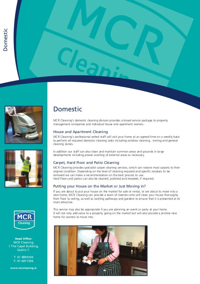 Domestic MCR Cleaning's domestic cleaning division provides a broad service package to property management companies and i...
