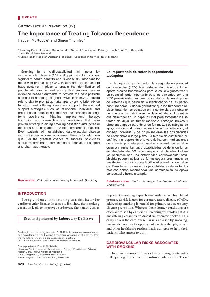 UPDATE  Cardiovascular Prevention (IV) The Importance of Treating Tobacco Dependence Hayden McRobbiea and Simon Thornleyb ...