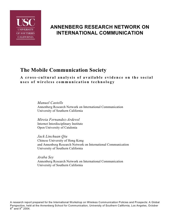 ANNENBERG RESEARCH NETWORK ON                                 INTERNATIONAL COMMUNICATION       The Mobile Communication S...