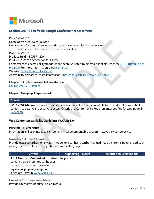 microsoft word sample report page 1 of 17 section 508 ict refresh sample conformance statement date 2