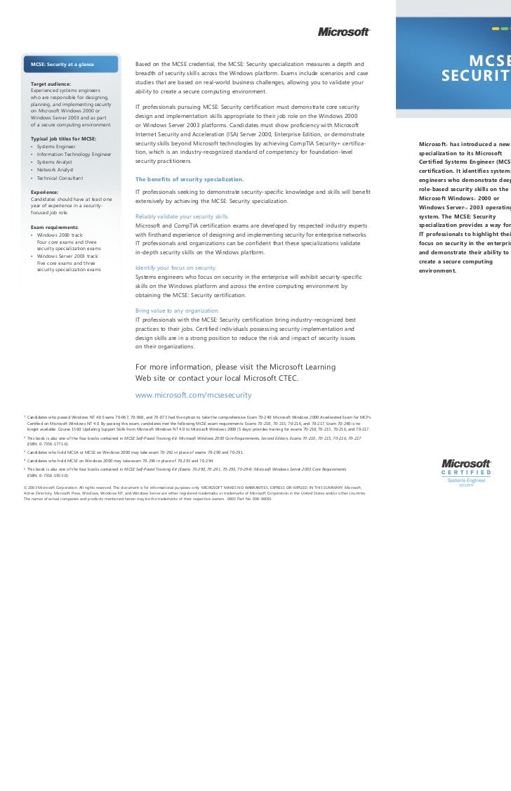 m     MCSE: Security at a glance                               Based on the MCSE credential, the MCSE: Security specializa...