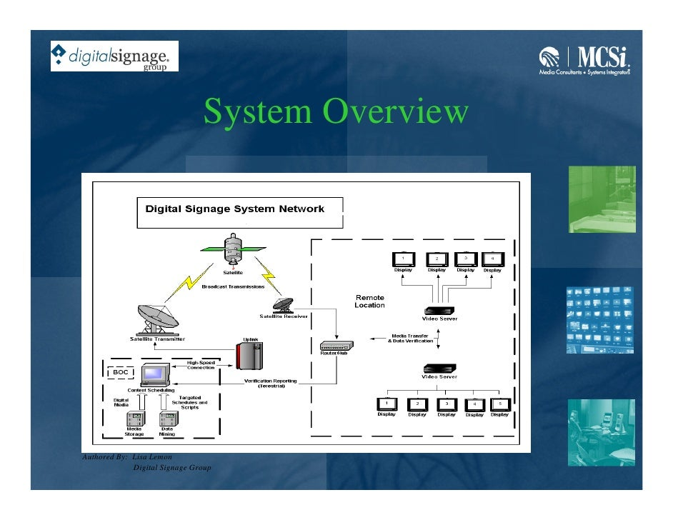 System Overview     Authored By: Lisa Lemon              Digital Signage Group