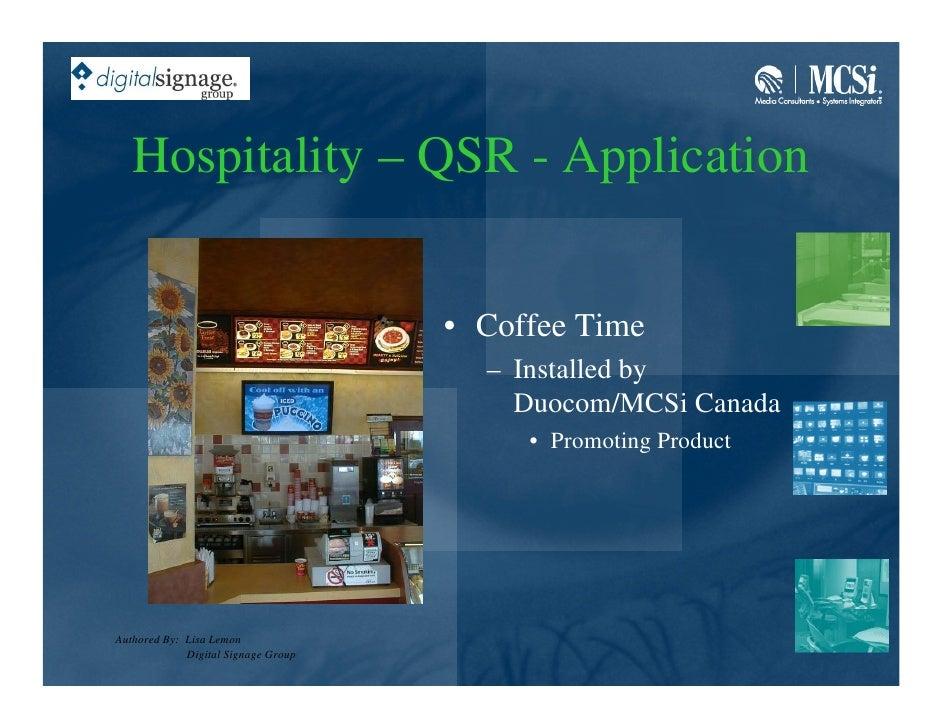 Hospitality – QSR - Application                                        • Coffee Time                                      ...