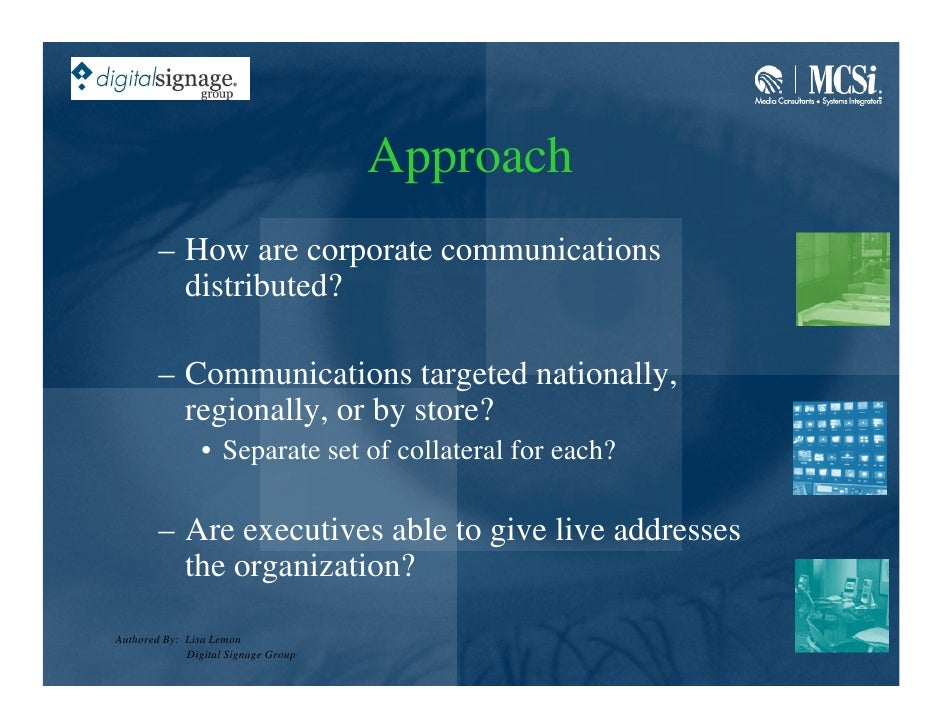 Approach         – How are corporate communications           distributed?          – Communications targeted nationally, ...