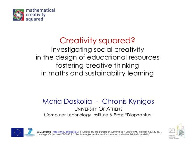 Creativity squared? Investigating social creativity in the design of educational resources fostering creative thinking in ...