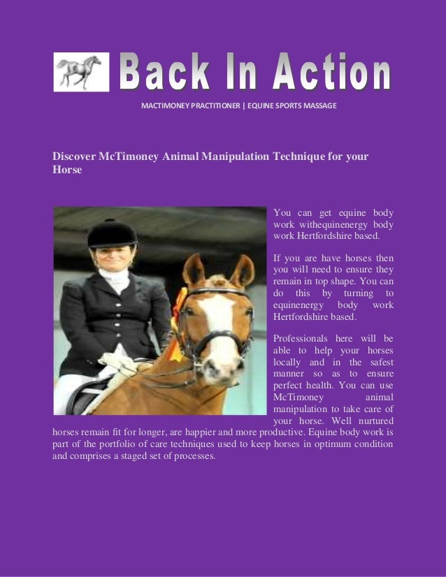 MACTIMONEY PRACTITIONER | EQUINE SPORTS MASSAGE Discover McTimoney Animal Manipulation Technique for your Horse You can ge...